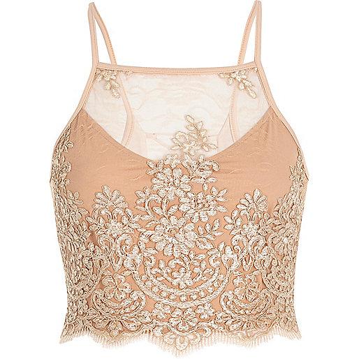 Besticktes Crop Top mit Gitterdesign hinten in Nude-Pink