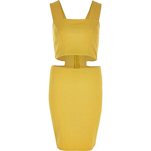 Yellow thick strap cut-out dress