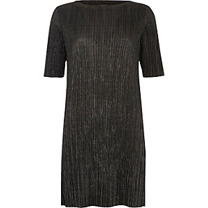 Black pleated metallic dress