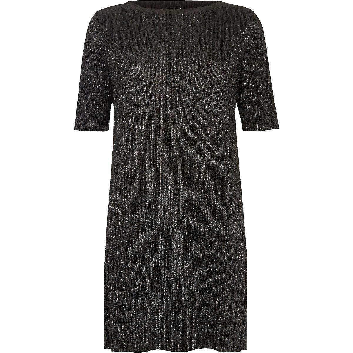 Black Pleated Metallic Dress T Shirt Dresses Dresses Women