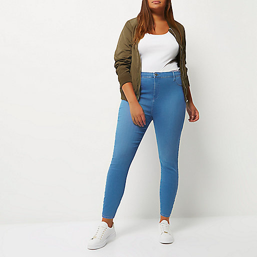 Plus – Molly – Hellblaue Skinny Jeans