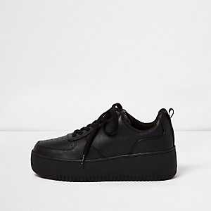 Black lace-up platform sneakers
