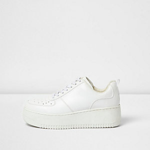 White lace-up platform sneakers