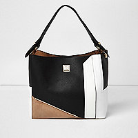 Black colour block slouch bag