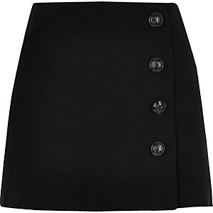 Black buttoned pelmet skirt
