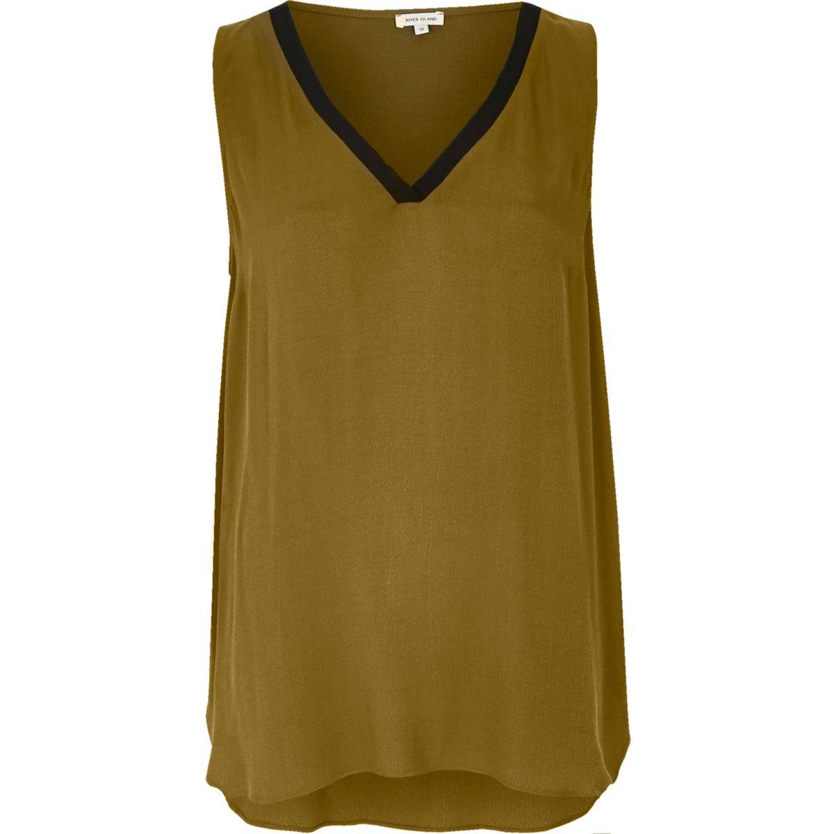 Khaki sporty V-neck vest