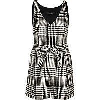 Black and white dogtooth print playsuit