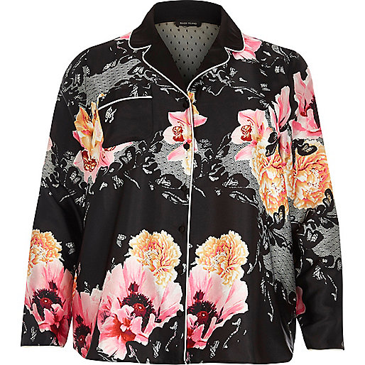 Plus black floral print pajama shirt