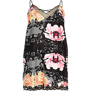Plus black floral slip with lace detail