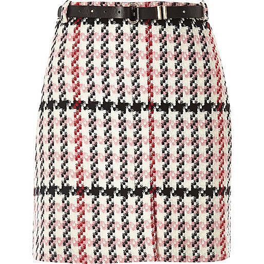 Pink checked woven mini skirt