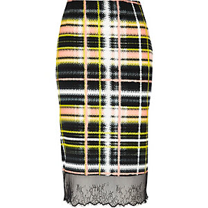 Yellow checked lace hem skirt