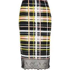 Yellow checked lace hem skirt