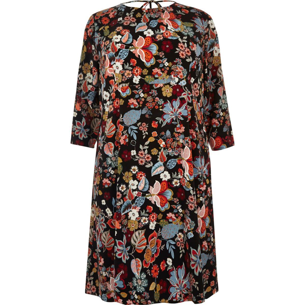 Plus red floral print midi dress