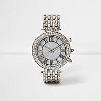 Silver tone glam chain strap watch