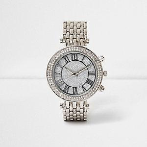 Silberne Uhr mit Strass
