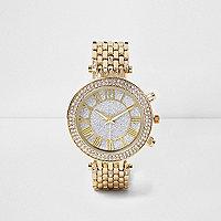 Goldene Armbanduhr mit Strassbesatz