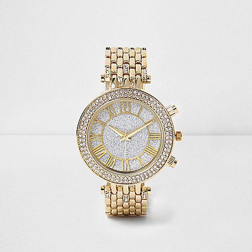 Gold tone diamant watch