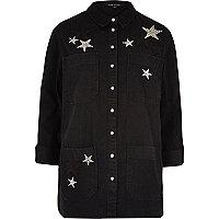 Black denim star embellished shacket
