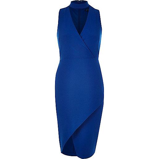 Robe portefeuille moulante bleue à empiècement ras du cou
