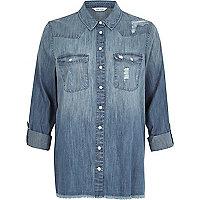 Light blue wash distressed denim shirt