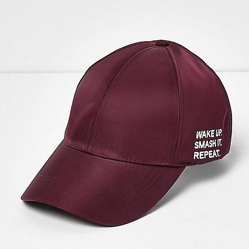 Burgundy 'smash it' slogan cap