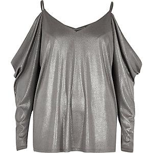 Silver ruched cold shoulder top