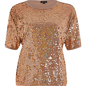 Gold sequin boxy T-shirt