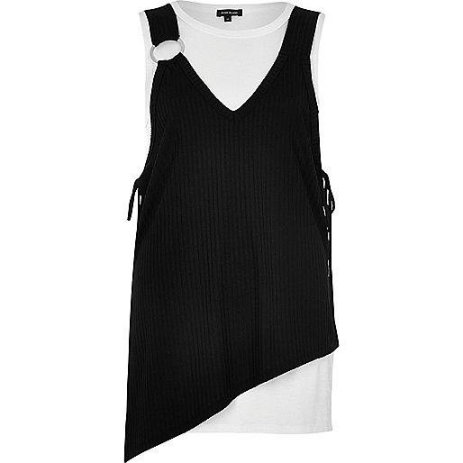 Zwart-witte gelaagde asymmetrische top
