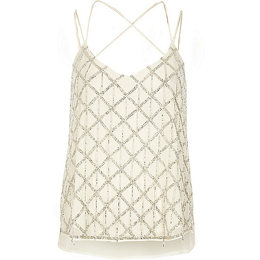 Cream embellished cami top