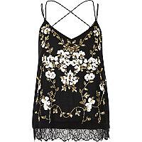 Black oriental embellished cami top