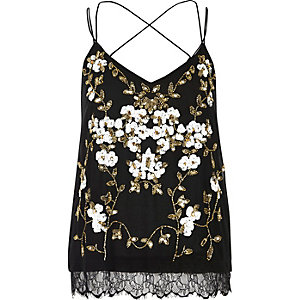 Black oriental embellished cami top