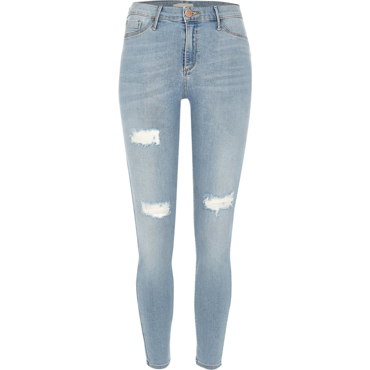 Molly – Jeggings in hellblauer Waschung im Used-Look