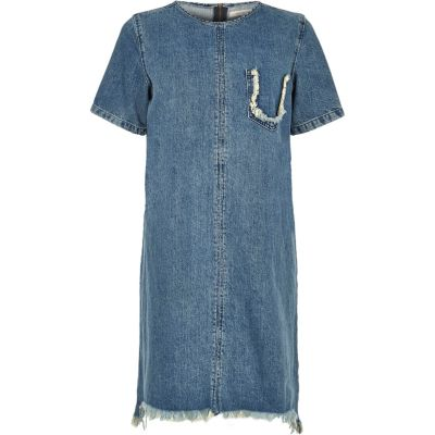 Blue wash gerafelde denim T-shirtjurk