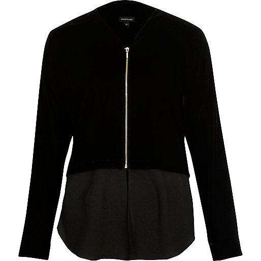 Black velvet contrast hem shacket
