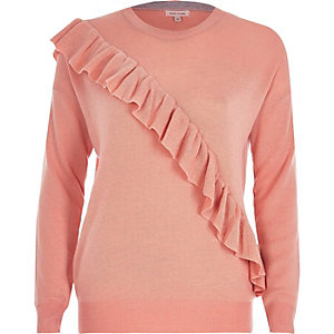 Pink asymmetric ruffle sweater
