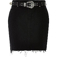 Black frayed denim skirt with western belt