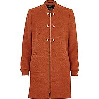Dark orange soft longline bomber jacket