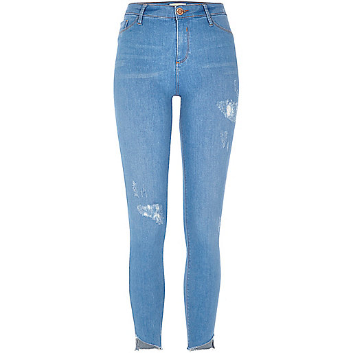 Bright blue Molly asymmetric hem jeans