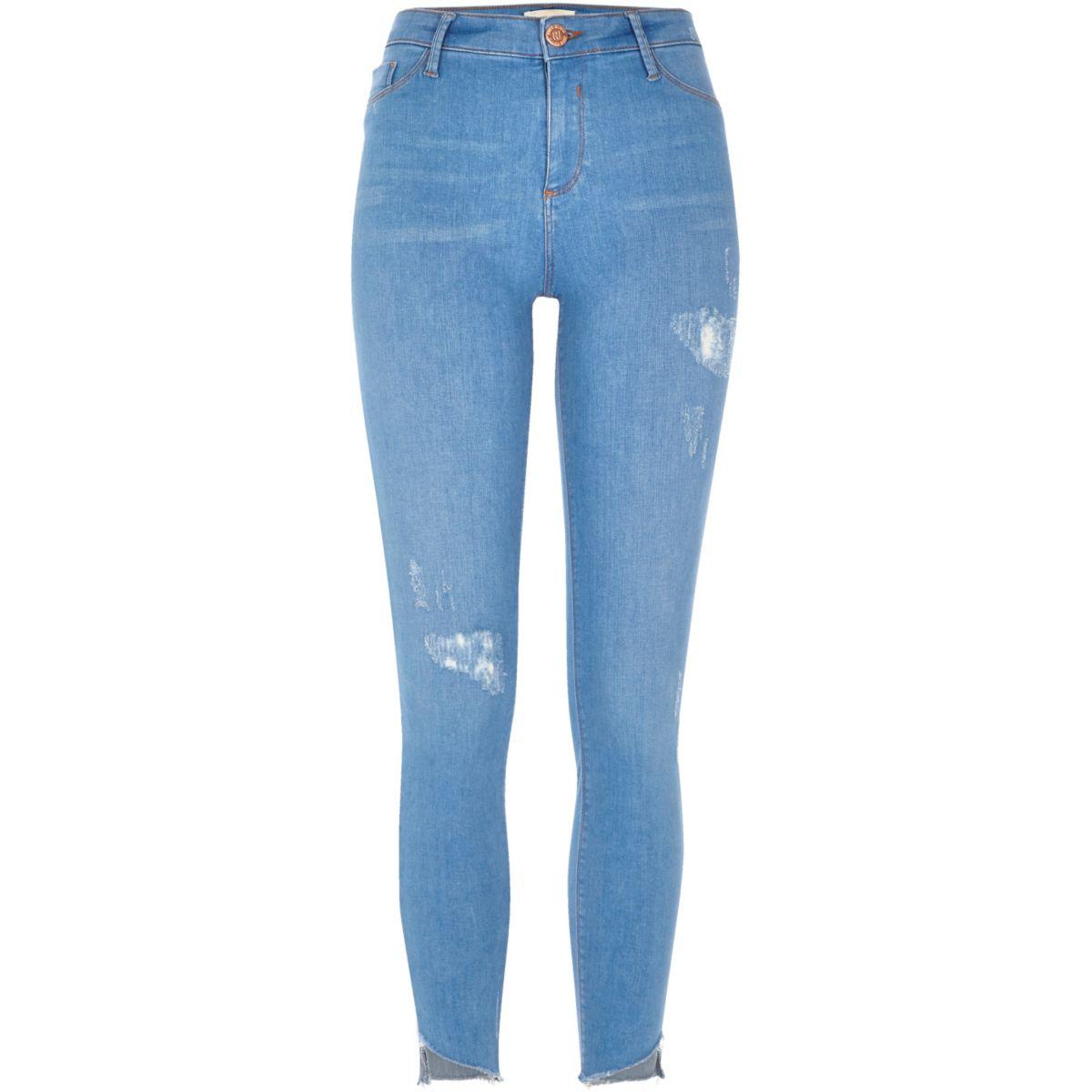 Bright blue Molly asymmetric hem jeans