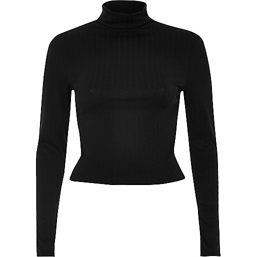 Black ribbed roll neck crop top