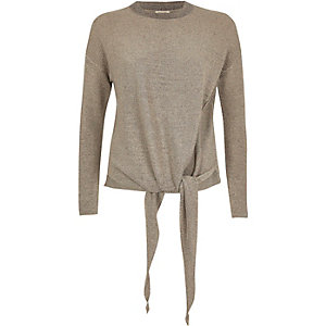 Gold knit tied side top