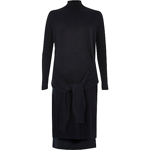 Navy knit tied front turtleneck dress