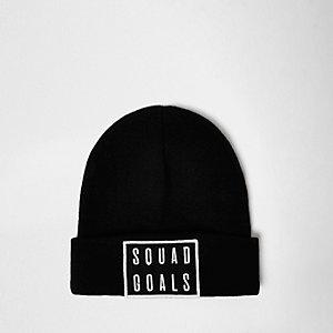 Black knitted squad goals beanie