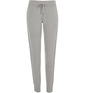 Grey tie front joggers