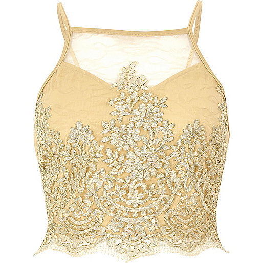 Crop top doré en dentelle transparente