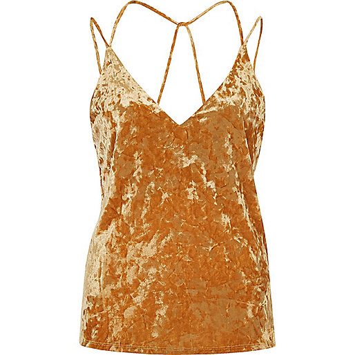 Orange velvet strappy cami top