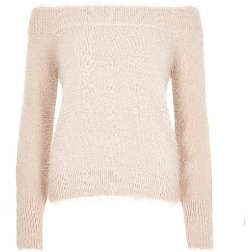 Pink fluffy bardot sweater