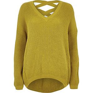 Yellow knit cross strap sweater