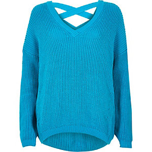 Blue knit cross strap sweater