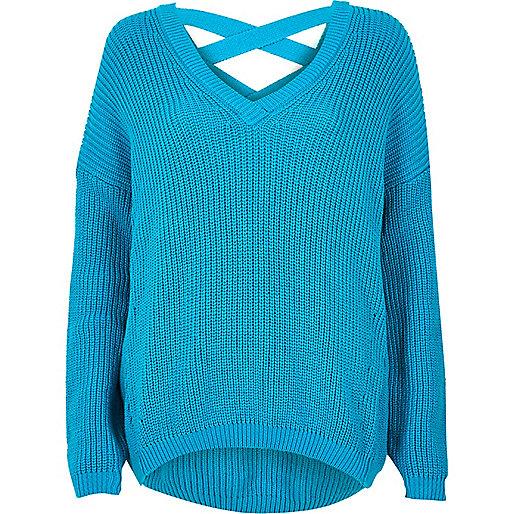 Blue knit cross strap sweater